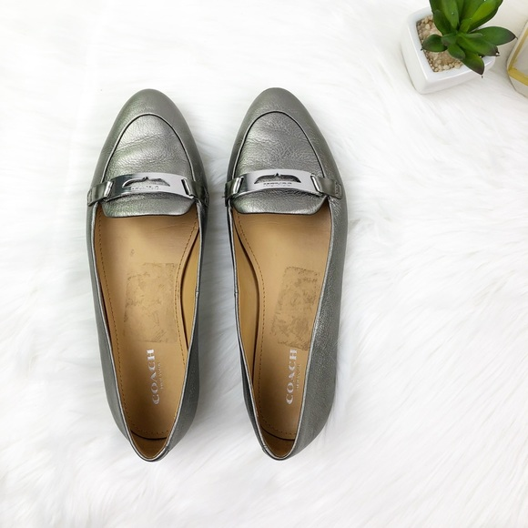 9be46f996c0 Coach ruthie metallic pewter loafers NWOT 6.5